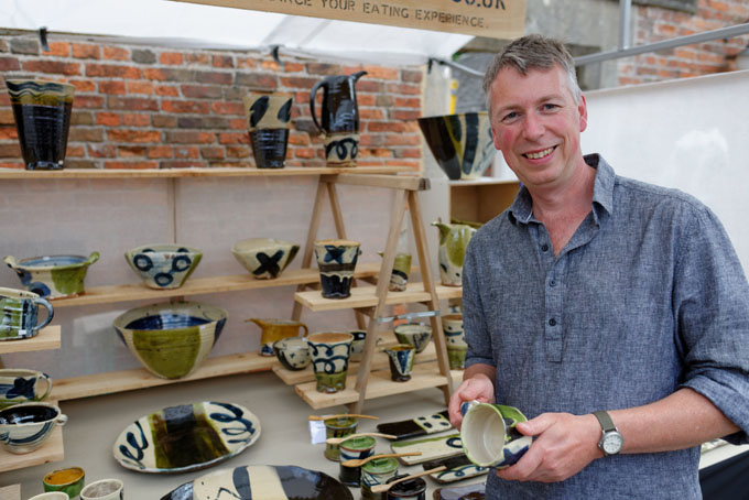 Earth and Fire, Rufford Abbey 2014. Nigel Lambert at his stand.